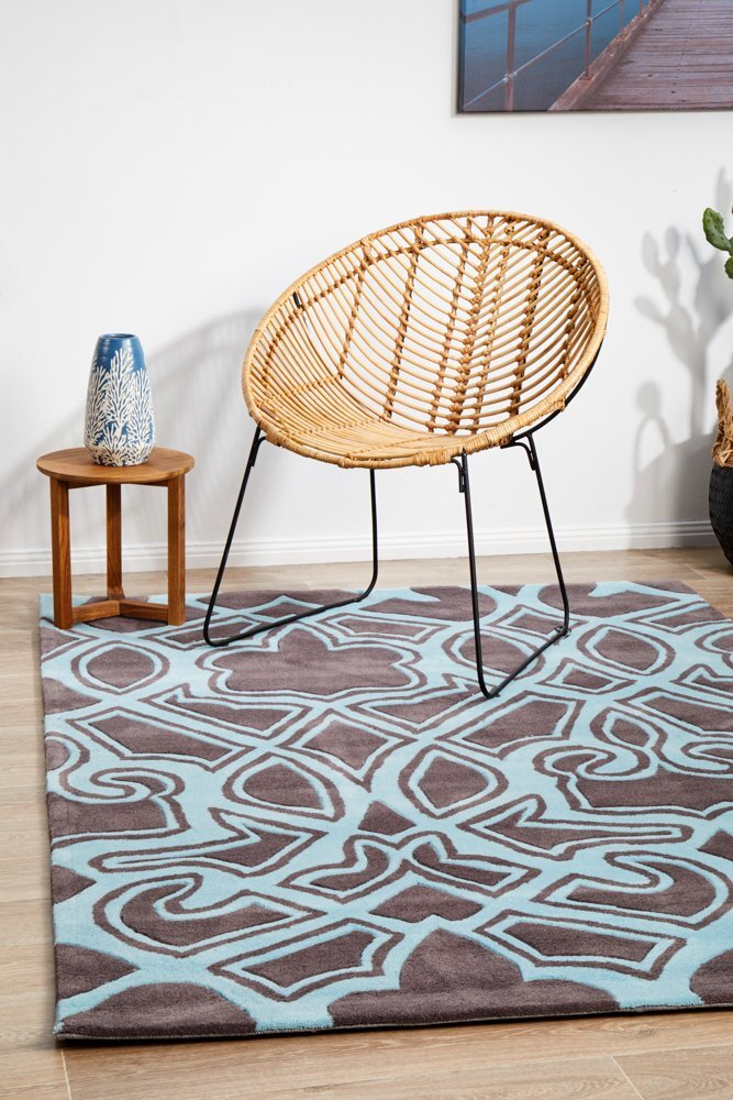 Rug Culture Gothic Tribal Design Flooring Rugs Area Carpet Smoke Grey and Blue 225x155cm