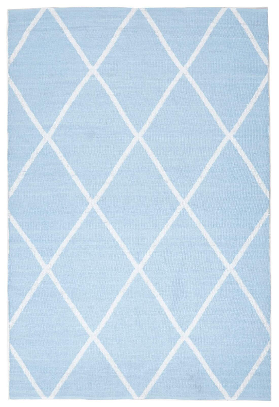 Coastal Indoor Out door Flooring Rug Area Carpet Diamond Sky Blue White 220x150cm