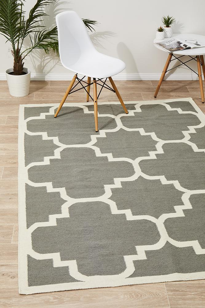 Rug Culture Flat Weave Large Moroccan Design Flooring Rugs Area Carpet Grey 225x155cm