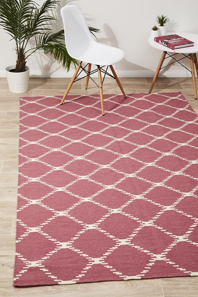 Rug Culture Flat Weave Stitch Design Flooring Rugs Area Carpet Pink 280x190cm
