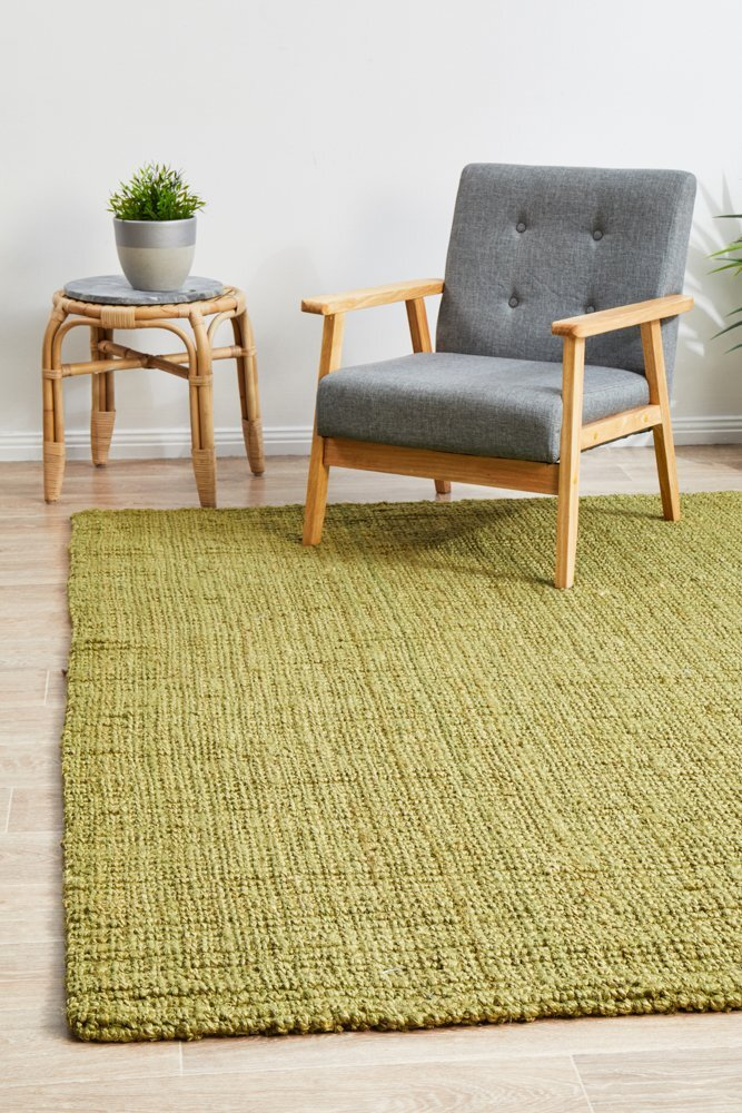 Chunky Natural Fiber Barker Green Flooring Rug Area Carpet 220x150cm
