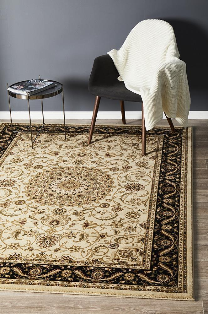 Medallion Flooring Rug Area Carpet Ivory with Black Border 170x120cm