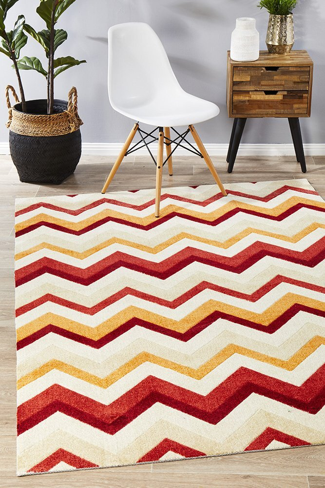 Rug Culture Stunning Chevron Design Flooring Rugs Area Carpet Rust Red 280x190cm