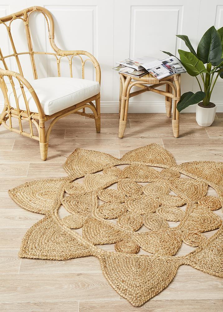 Rug Culture Round Jute Natural Stellar Flooring Rugs Area Carpet 240x240cm
