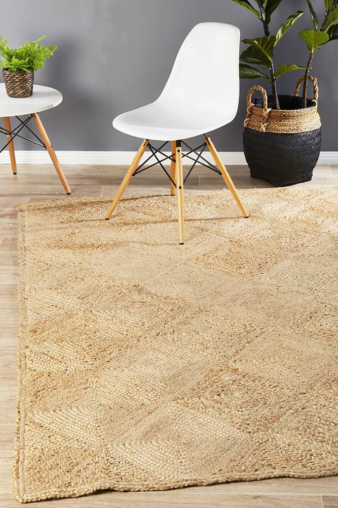 Rug Culture Chunky Natural Fiber Hatch Flooring Rugs Area Carpet 220x150cm