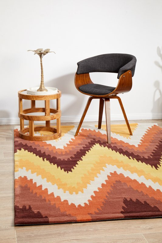 Ikat Chevron Rust Flooring Rug Area Carpet 165x115cm