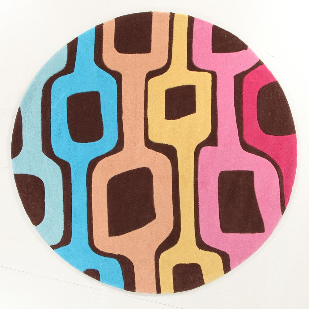 Rug Culture Funk Retro  Multi Coloured Round Flooring Rugs Area Carpet 200x200cm