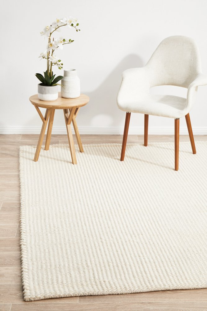 Rug Culture Carlos Felted Wool Flooring Rugs Area Carpet White Natural 320x230cm