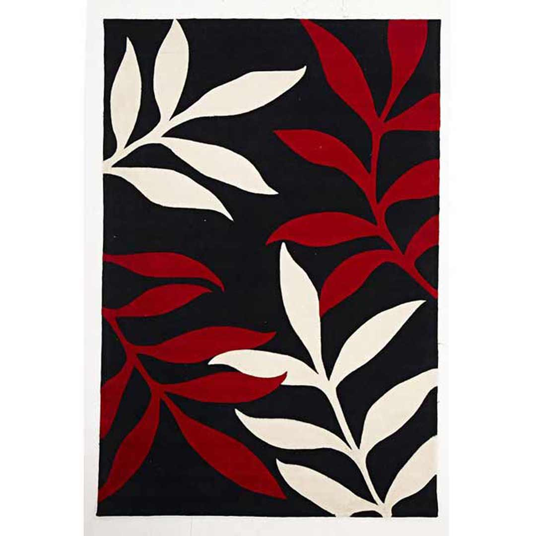 Stunning Leaf Design Flooring Rug Area Carpet Black Red 165x115cm