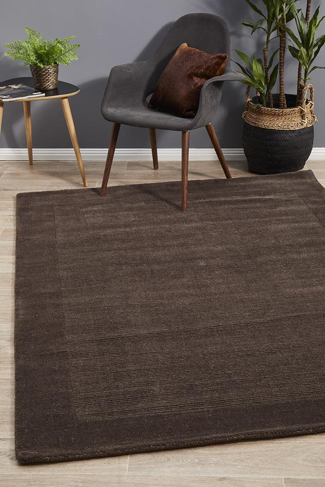 Cut and Loop Pile Flooring Rug Area Carpet Chocolate 280x190cm
