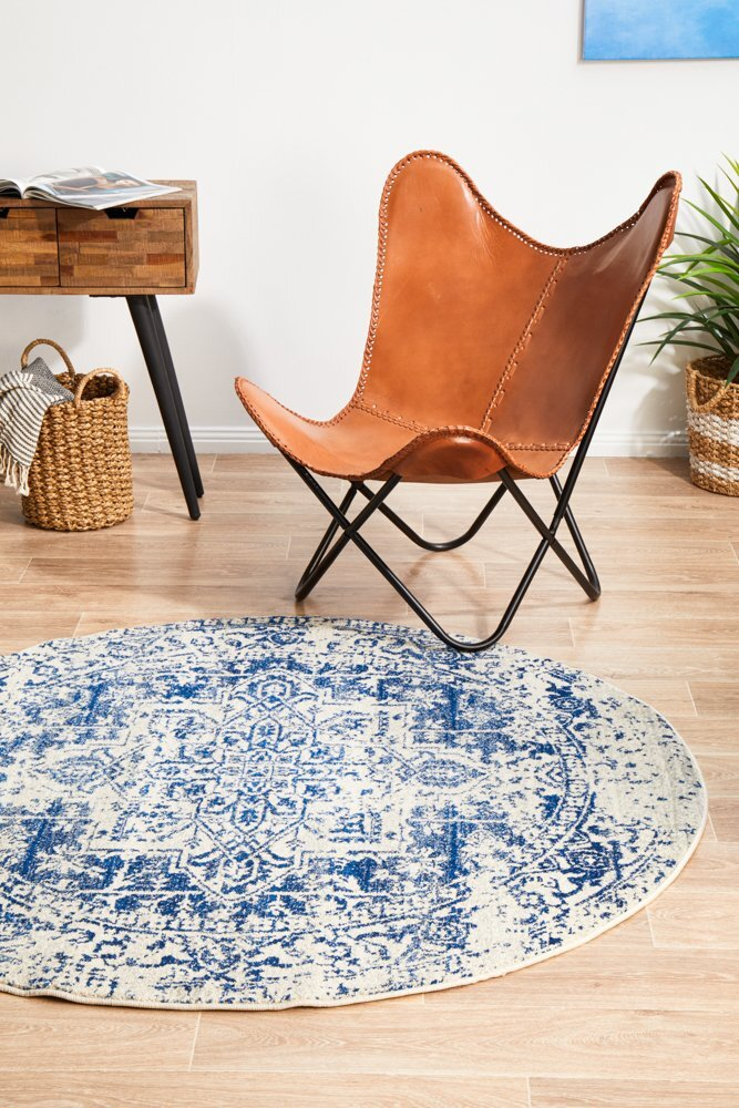 Rug Culture Horizon White Navy Transitional Flooring Rugs Area Carpet 150x150cm