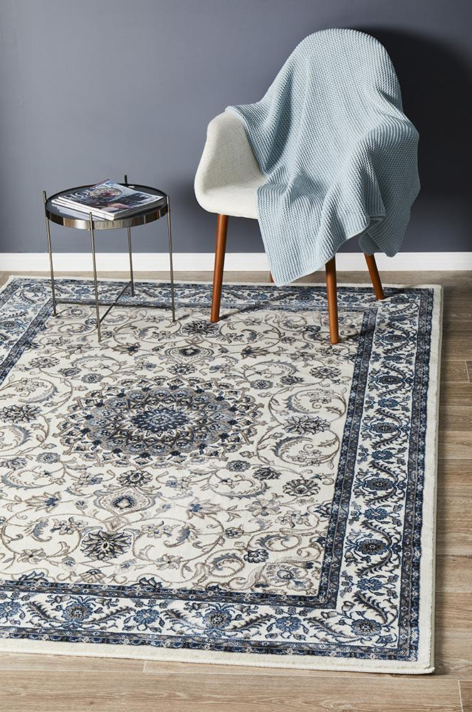 Rug Culture Medallion Flooring Rugs Area Carpet White with White Border 170x120cm
