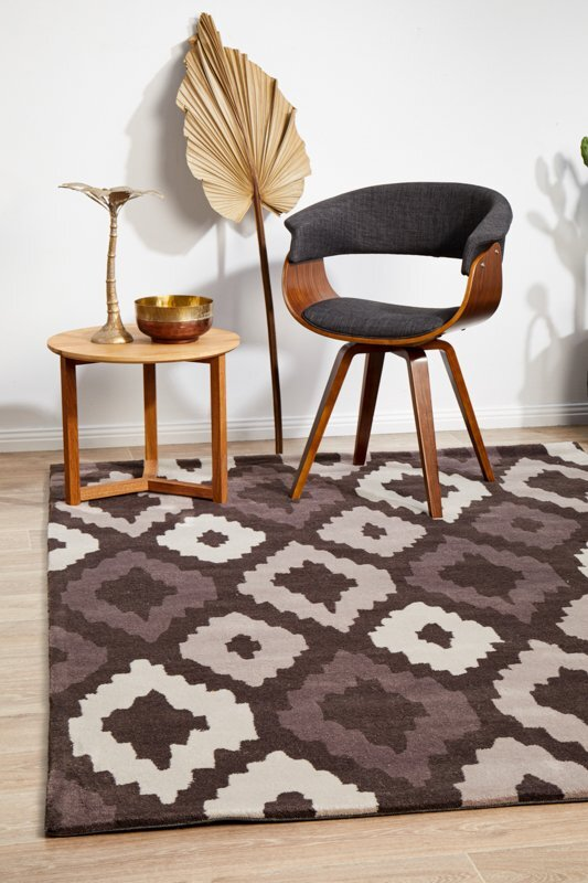 Rug Culture Ikat Diamonds Brown Beige Flooring Rugs Area Carpet 165x115cm