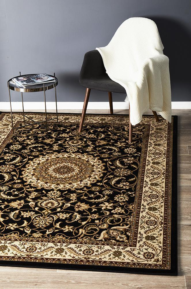 Rug Culture Medallion Flooring Rugs Area Carpet Black with Ivory Border 400x300cm