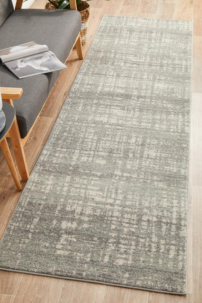 Rug Culture Ashley Abstract Modern Runner Rugs Silver Grey MIR-354-SIL-400X80cm