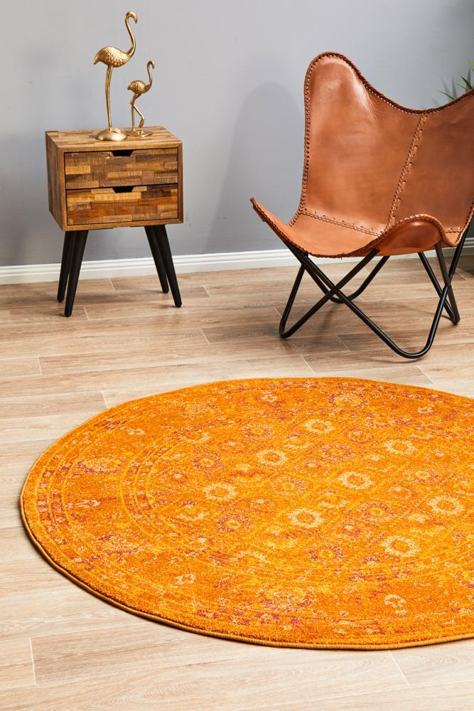 Rug Culture RADIANCE 444 Floor Area Carpeted Rug Contemporary Round Burnt Orange 200X200cm