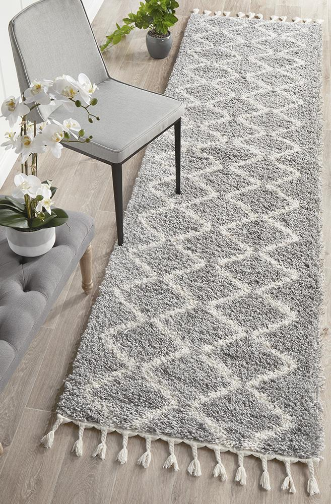 Rug Culture Saffron 11 Floor Area Carpeted Rug Shag Runner Silver 200X80cm