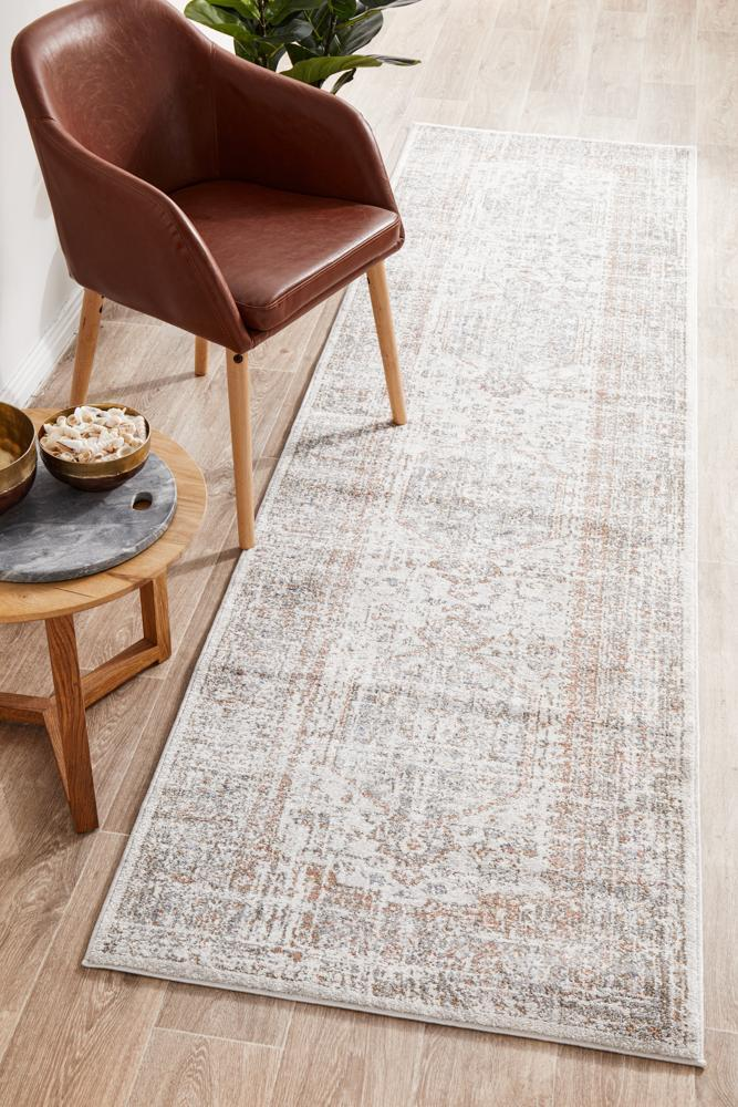 Rug Culture MAYFAIR LORISSA Floor Area Carpeted Rug Transitional Runner Silver & Peach 300X80CM