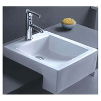 ECT Global Semi Recess Basin Bathroom Ceramic Square Vanity White Massimo WB 4076C