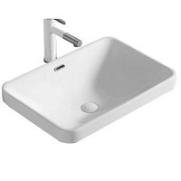 ECT Global Semi Insert Basin Bathroom Ceramic Vanity White Nero WB 5237A