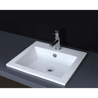 ECT Global Rectangle Insert Basin Bathroom Ceramic Vanity White Lois-II WB 4942-O