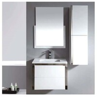 ECT Global Vanity Cabinet Gloss White Wall Mounted Bathroom Niko 75