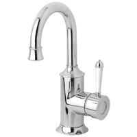 Phoenix Tapware Basin Mixer Bathroom Tap 120mm Gooseneck Chrome White Nostalgia NS770-62