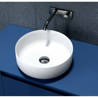 SI Aust Group Solid Surface Basin Marble Stone Above Counter Round Matt White Dahlia SI-M19
