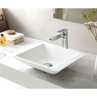 SI Aust Group Solid Surface Basin Marble Stone Above Counter Rectangle Matt White RIO SI-A25-450