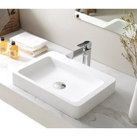 SI Aust Group Marble Stone Basin Above Counter Square Gloss White Grande SI A20G-500