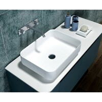 SI Aust Group Solid Surface Basin Marble Stone Above Counter Rectangle Matt White Gemma SI-M17