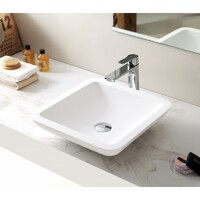SI Aust Group Solid Surface Basin Marble Stone Above Counter Square Matt White Como SI-A15-425