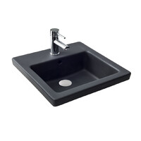 Seima Ceramic Above Counter Basin Square Matte Black 1 Tap Hole KYRA SBC-017K