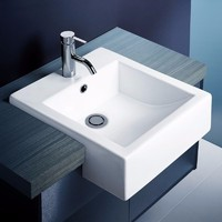 Caroma Liano 661205W Semi Recessed Bathroom Vanity Basin No Tap Hole