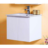 Best BM Bathroom Vanity Cabinet 600mm 2 Drawers Gloss White Wall Hung BVW-600