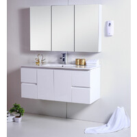Best BM Bathroom Vanity Cabinet 1200mm 2 Doors 4 Drawers Gloss White Ensuite Vanities Wall Hung BVW-1200