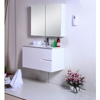 Best BM Vanity Cabinet 900mm 2 Doors 2 Drawers Gloss White Wall Hung BVW-900