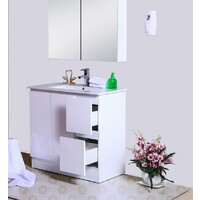 Best BM Vanity Cabinet 900mm 2 Drawers Gloss White Freestanding BVN-900