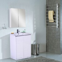 Best BM Bathroom Vanity Cabinet 600mm 2 Doors Gloss White Freestanding BVN-600