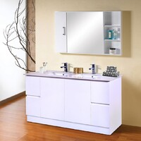 Best BM Vanity Cabinet 2 Doors 4 Drawers 1500 mm Freestanding Gloss White BVN-1500