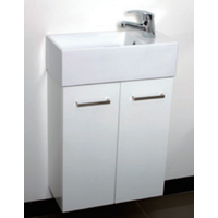 Cabinet & Basin Top Gloss White Bathroom Vanity Wall Hung TINY 50W