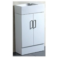 ECT Global Vanity Freestanding Bathroom Cupboard Ceramic Reversible Basin Top Gloss White TINY 50
