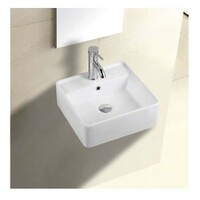 ECT Global Wall Hung Basin Square Ceramic Bathroom Vanity with Bracket Gloss White COCO WB 4014W