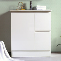 Best BM Bathroom Rio Slimline Freestanding Vanity Cabinet 750mm 2 Doors White BVS-750