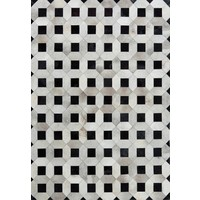 Bayliss Rugs Cowhide Lattice Grey Geometric Cow Hide Floor Area Rug 200cm x 300cm