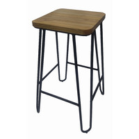 Loop Black Metal Hairpin Bar Stool with Ash Seat 670mm