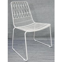 Outdoor Replica Bend Wire Lucy Dining Chair Stackable Matt White