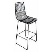 Outdoor Stool Replica Wire Lucy Kitchen Bar High 75cm Matte Black