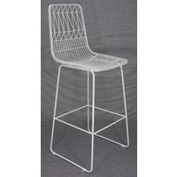Outdoor Stool Replica Wire Lucy Kitchen Bar High 75cm Matt White