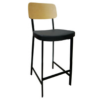 Estelle Bar Stool with Vinyl Padded Seat Black / Birch